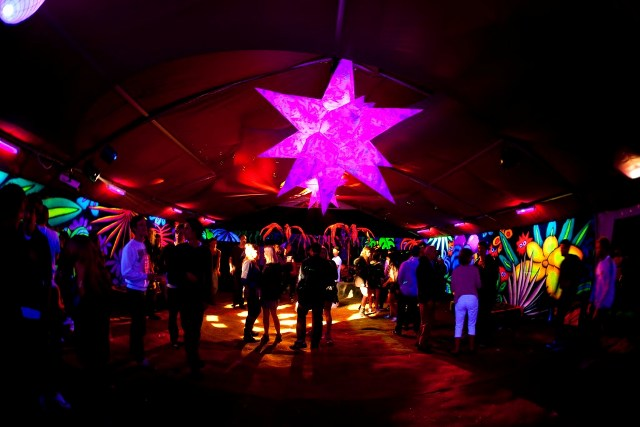 Decorated funky uv marquee for hire for Indoor marquee decoration