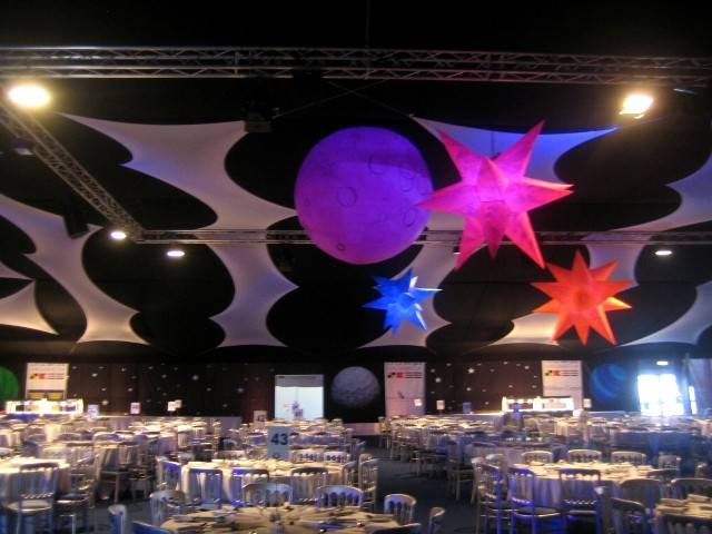 Inflatable planets for space theme events for Outer space fabric uk